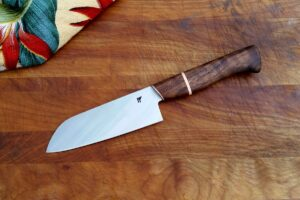 "6"" santoku - black walnut, copper"