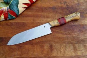 "8"" Santoku - spalted tamarind, purple heart, paduak, copper"