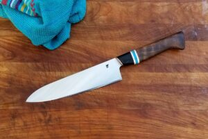 "8"" Chef - turquoise, black walnut, buffalo horn, copper"